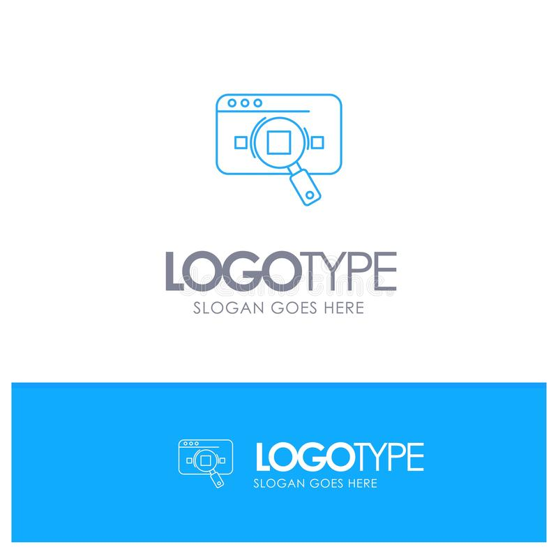 Research, Analytic, Analytics, Data, Information, Search, Web Blue outLine Logo with place for tagline stock illustration