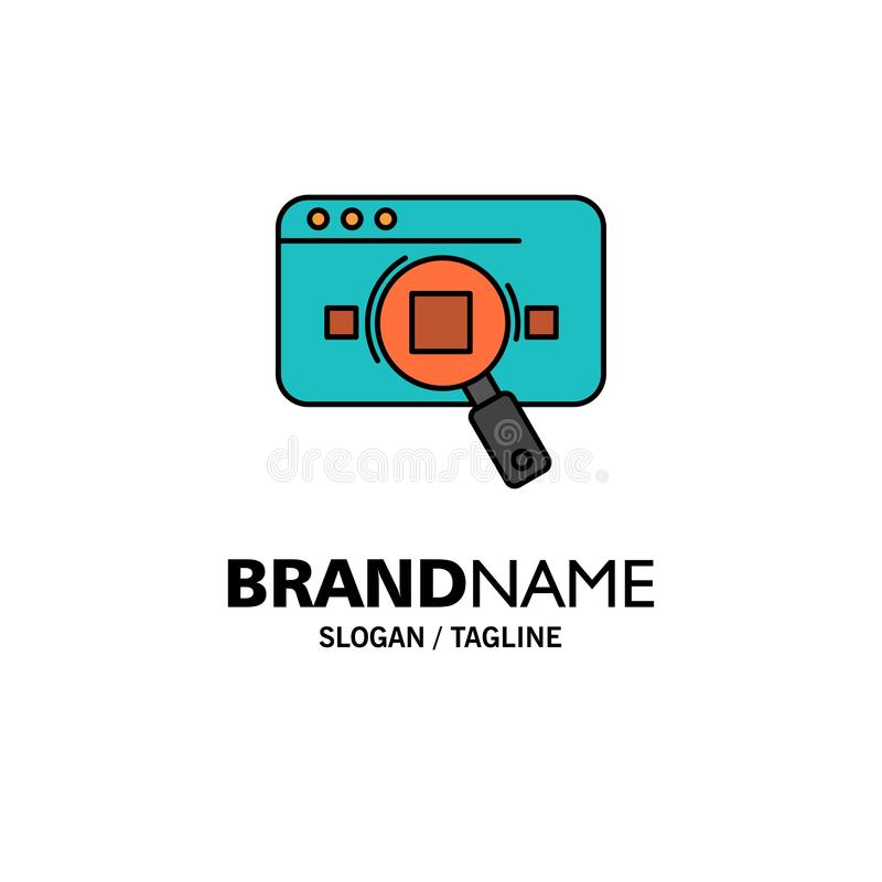 Research, Analytic, Analytics, Data, Information, Search, Web Business Logo Template. Flat Color vector illustration