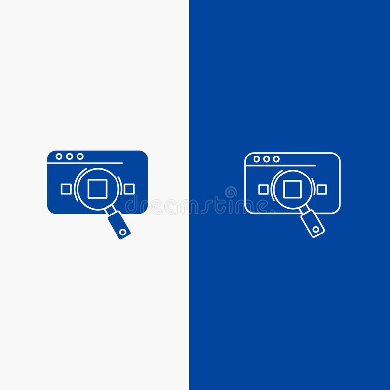 Research, Analytic, Analytics, Data, Information, Search, Web Line and Glyph Solid icon Blue banner Line and Glyph Solid icon Blue. Banner vector illustration