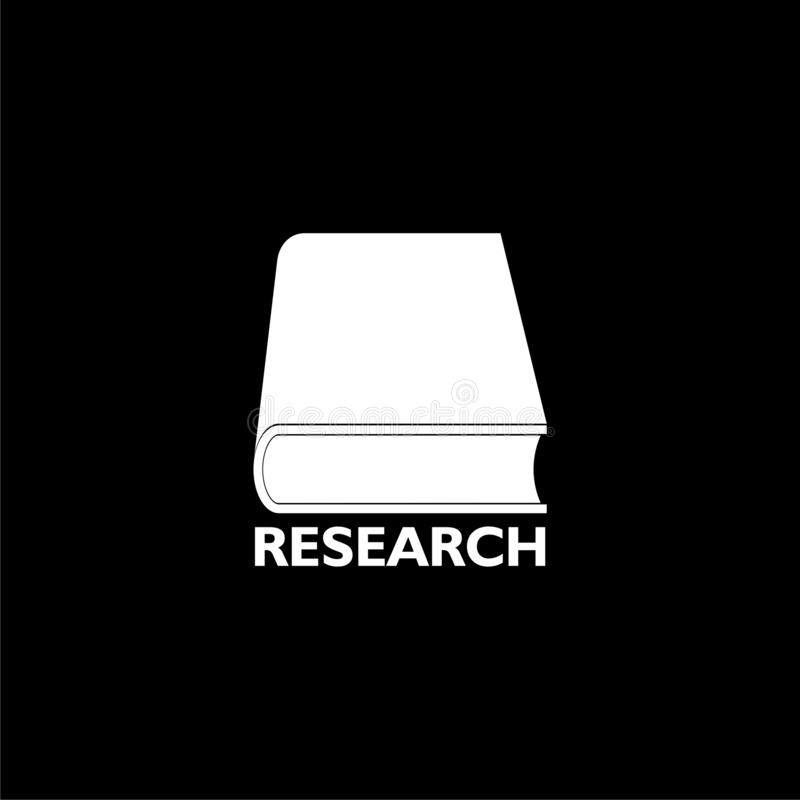 Research with book isolated icon on black background stock illustration