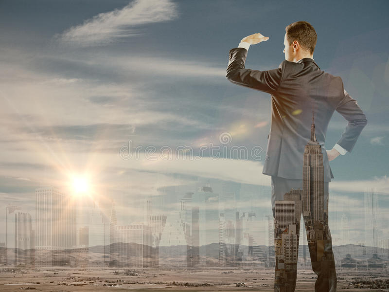Research concept. Businessman looking into the distance on abstract city background with sunlight. Research concept. Double exposure royalty free stock image