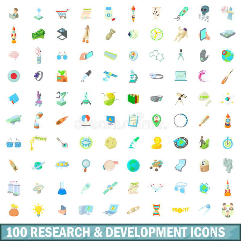 100 research and development icons set stock illustration