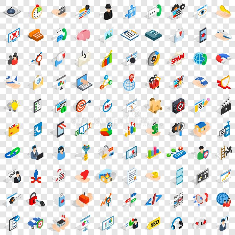 100 research development icons set stock illustration