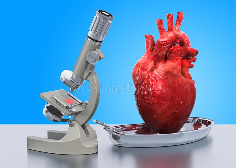 Research and diagnostics of heart disease concept. Laboratory microscope with human heart, 3D rendering vector illustration