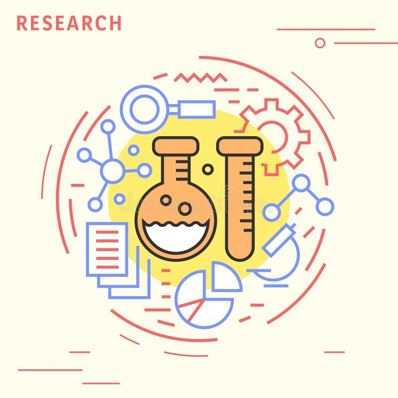 Research flat line design concept. Playful and modern illustration for study industries. Playful and modern illustration for study industries. Research flat line royalty free illustration