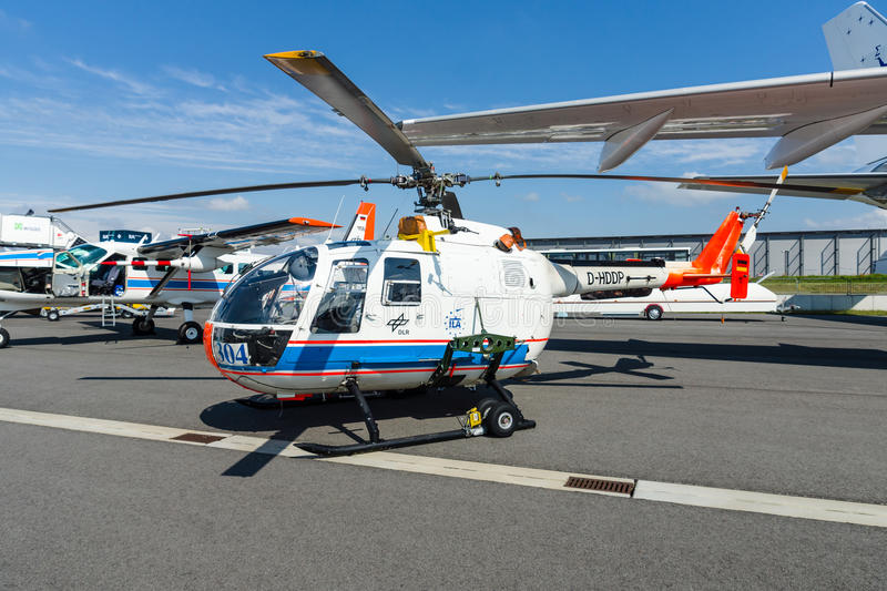 Research helicopter Eurocopter MBB Bo105 by German Aerospace Center (DLR). BERLIN, GERMANY - JUNE 02, 2016: Research helicopter Eurocopter MBB Bo105 by German stock images