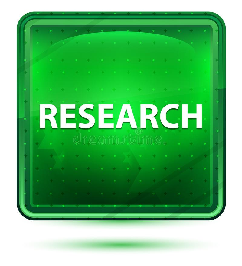 Research Neon Light Green Square Button. Research Isolated on Neon Light Green Square Button vector illustration