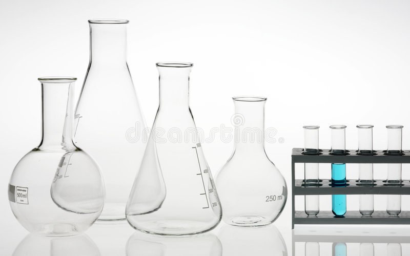 Research lab assorted glassware royalty free stock images