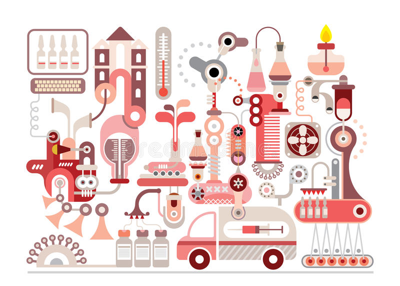 Research laboratory and pharmaceutical manufacture. Isolated vector illustration on white background stock illustration