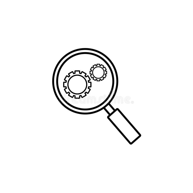 Research optimization line icon stock illustration