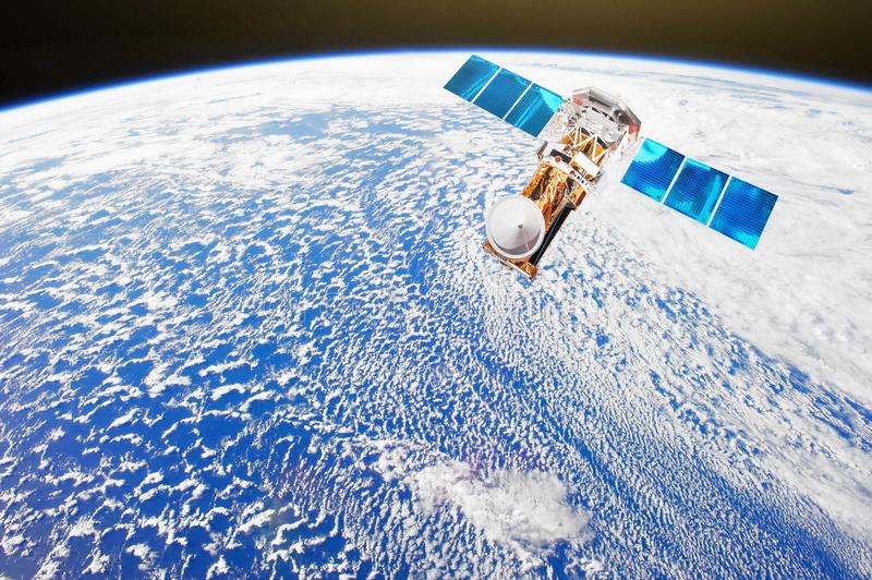 Research, probing, monitoring of in atmosphere. Satellite makes a survey of cloudiness and other weather parameters from space pla stock illustration