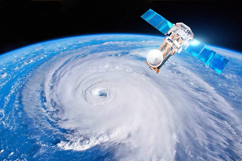 Research, probing, monitoring hurricane Florence. Satellite above the Earth makes measurements of the weather parameters. Elements royalty free stock images