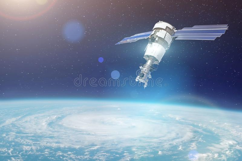 Research, probing, monitoring of tracking in a cyclonic vortex, a hurricane. Satellite above the Earth makes measurements of the w stock images