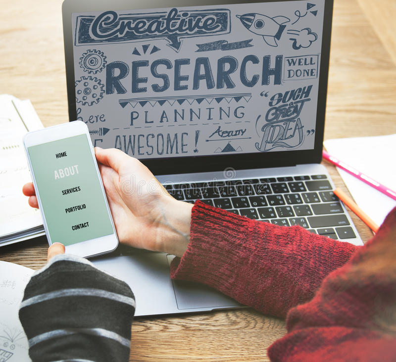 Research Results Report Facts Exploration Discovery Concept stock photography