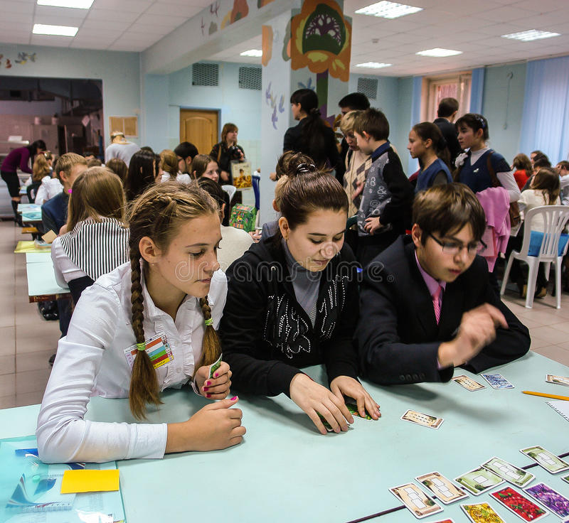 Research seminar students in the city of Obninsk, Kaluga region, Russia. In the city of Obninsk for many years operates the minor Academy of Sciences for stock photography