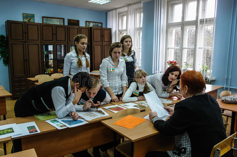 Research seminar students in the city of Obninsk, Kaluga region, Russia. In the city of Obninsk for many years operates the minor Academy of Sciences for royalty free stock photography