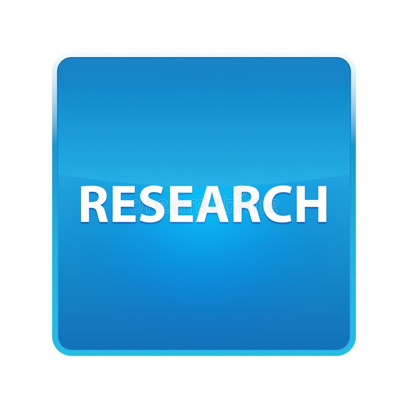 Research shiny blue square button. Research Isolated on shiny blue square button stock illustration