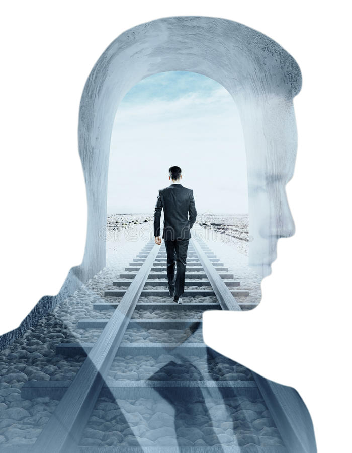 Research and solitude. Businessman walking on railway tracks and thoughtful silhouette on white background. Double exposure. Research and solitude concept royalty free stock photos
