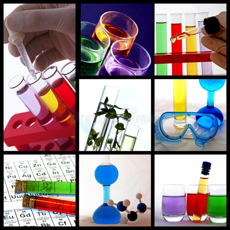 Research theme collage royalty free stock photography