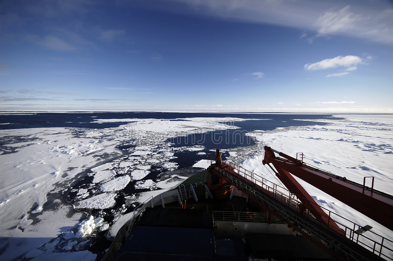 Research vessel in Antarctica stock photography