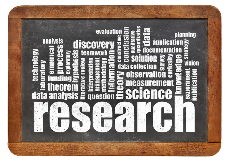 Research word cloud on blackboard. Scientific research word cloud on an isolated blackboard - science concept stock photos