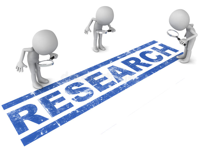 Research. Word with 3 scientists looking for new solutions