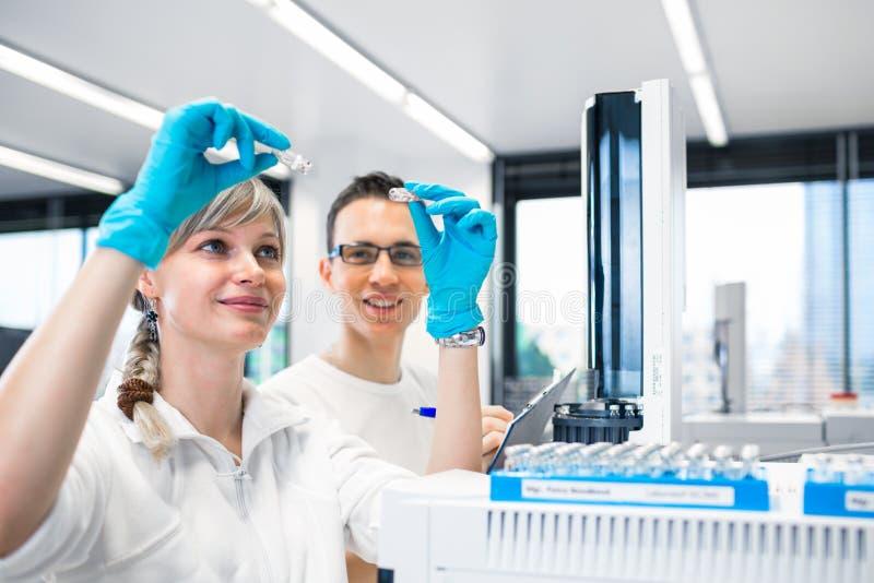 ResearcherÅ-› durchführende wissenschaftliche Forschung in einem Labor unter Verwendung eines Gaschromatographen lizenzfreie stockfotos