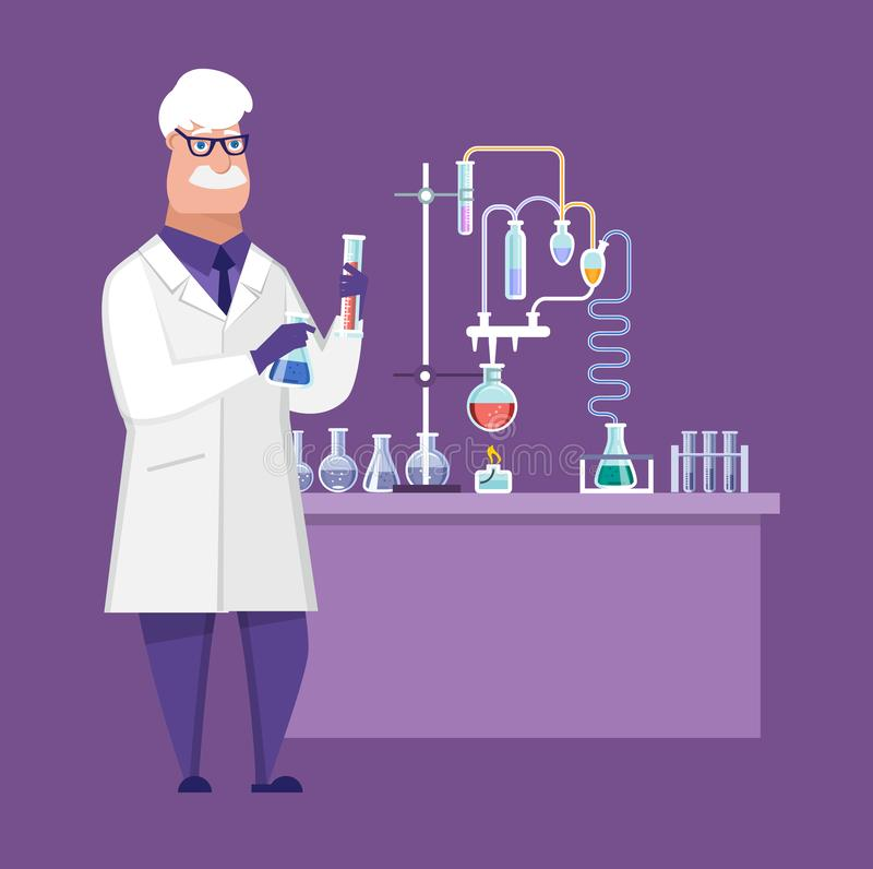Researcher chemical laboratory, male scientist, conducts chemical research, experiments. royalty free illustration