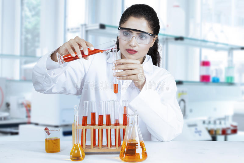Researcher doing research in the lab royalty free stock photos