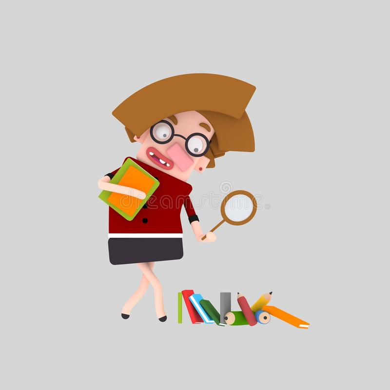 Researcher with a magnifying glass vector illustration