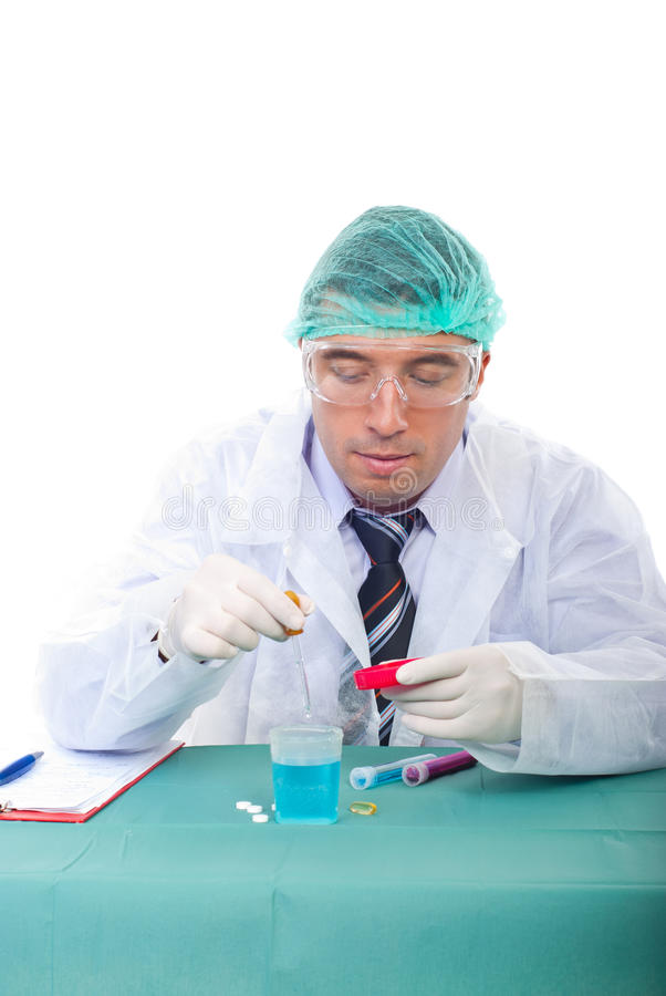 Researcher man in laboratory stock photos
