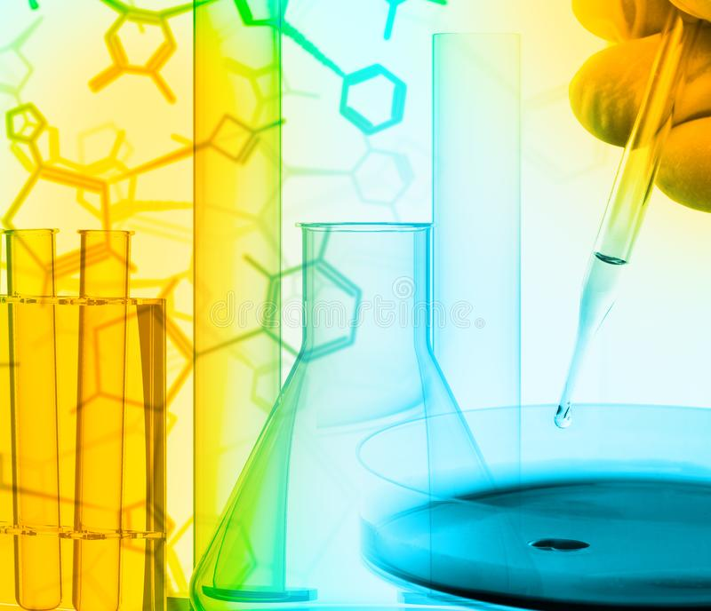 Researcher with petri dish and science lab glass equipment over. Structural chemical formula - research or science concept background stock photos