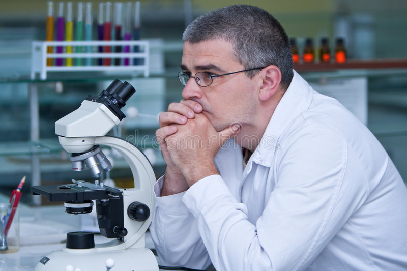 Researcher thinking stock photo