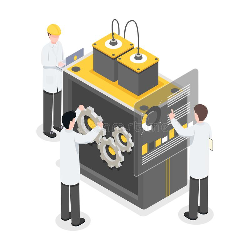 Researchers, engineers working on technology, breakthrough. People working on new tech, projecting modern machinery royalty free illustration