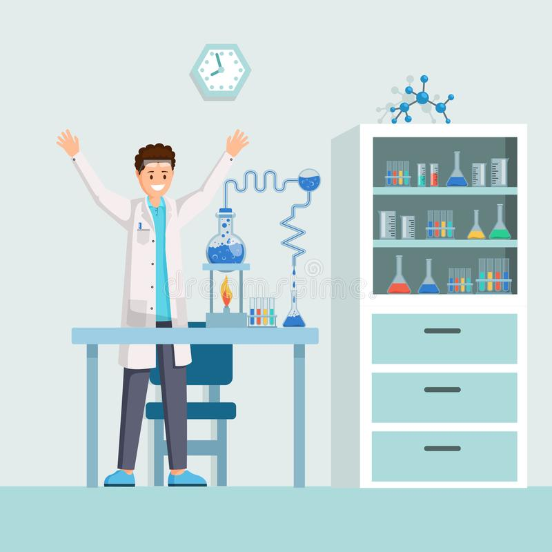 Researchers success flat vector illustration. Happy scientist, chemist excited about successful experiment. Cartoon royalty free illustration