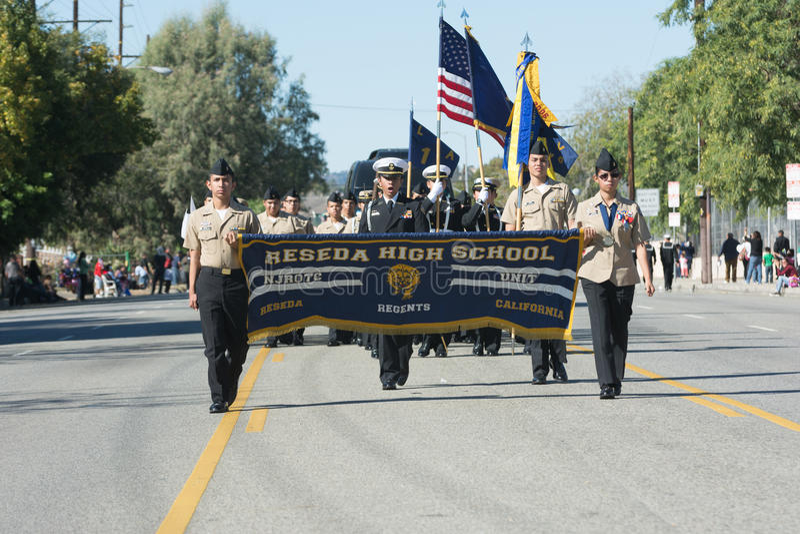 Reseda High School. Mission Hills, USA - November 11, 2015: Reseda High School during The San Fernando Valley Veterans Day Parade stock photography