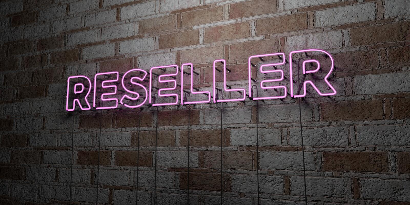 RESELLER - Glowing Neon Sign on stonework wall - 3D rendered royalty free stock illustration. Can be used for online banner ads and direct mailers stock illustration