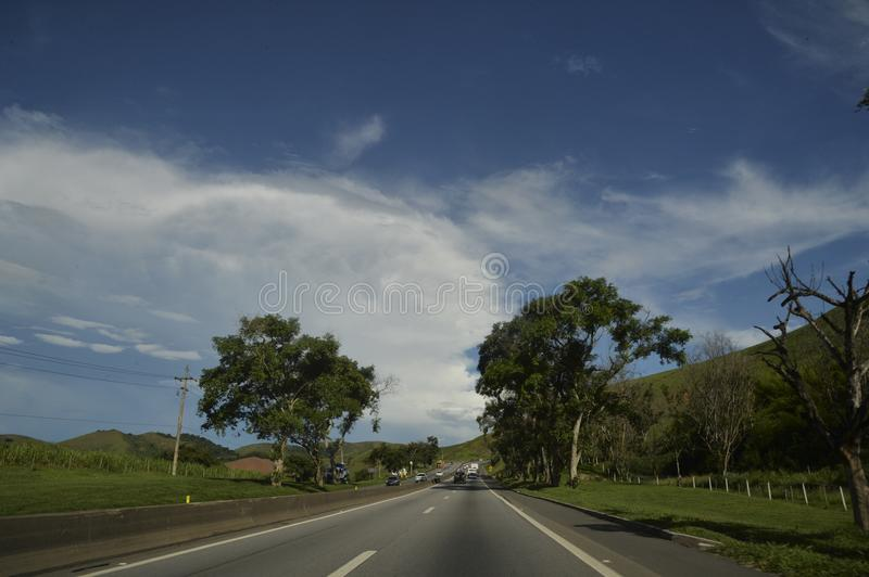 Rodovia Presidente Dutra. Resende, Brazil - january 02, 2017: Presidente Dutra Highway, an important road link between the cities of São Paulo and Rio de stock photography