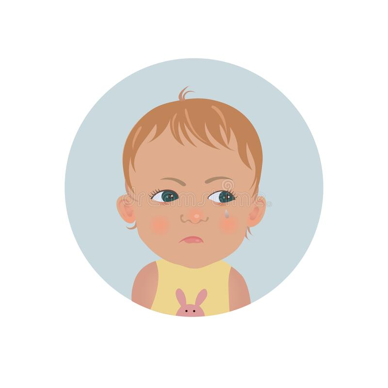 Resentful child emoticon. Cute offended baby emoji. Discontent toddler smiley expression. Vector illustration royalty free illustration