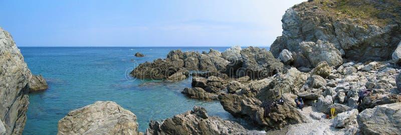 reserv för panorama för banyulscerbere marin- royaltyfri bild
