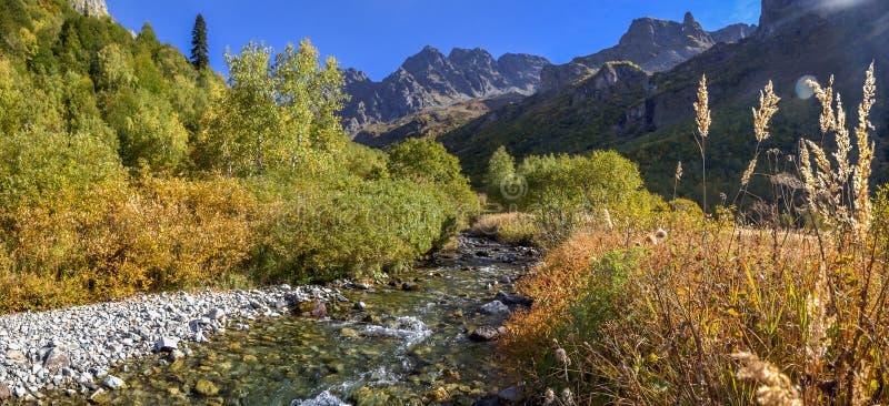 Reserva caucasiano da biosfera O rio de Mzymta flui no lago Kardyvach foto de stock