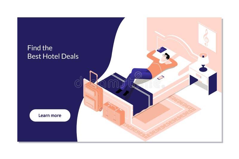 Reserva de hotel de la reservación del hombre en la tableta de Digitaces Concepto isométrico de la habitación del vector stock de ilustración