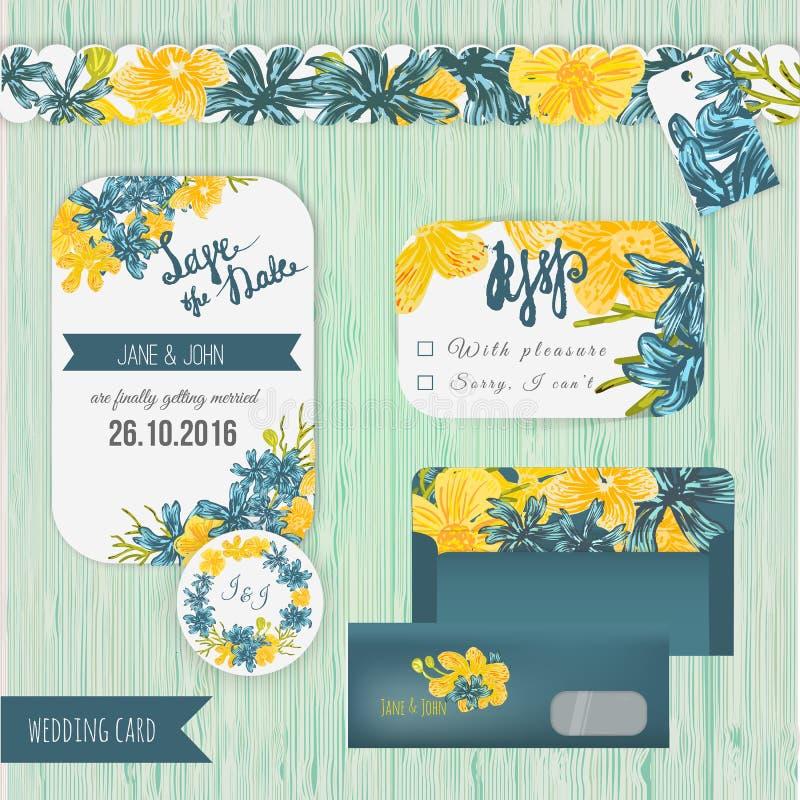 Reserva del efecto de la acuarela del vector el sistema de tarjeta de fecha en estilo rústico con las flores azules y amarillas libre illustration