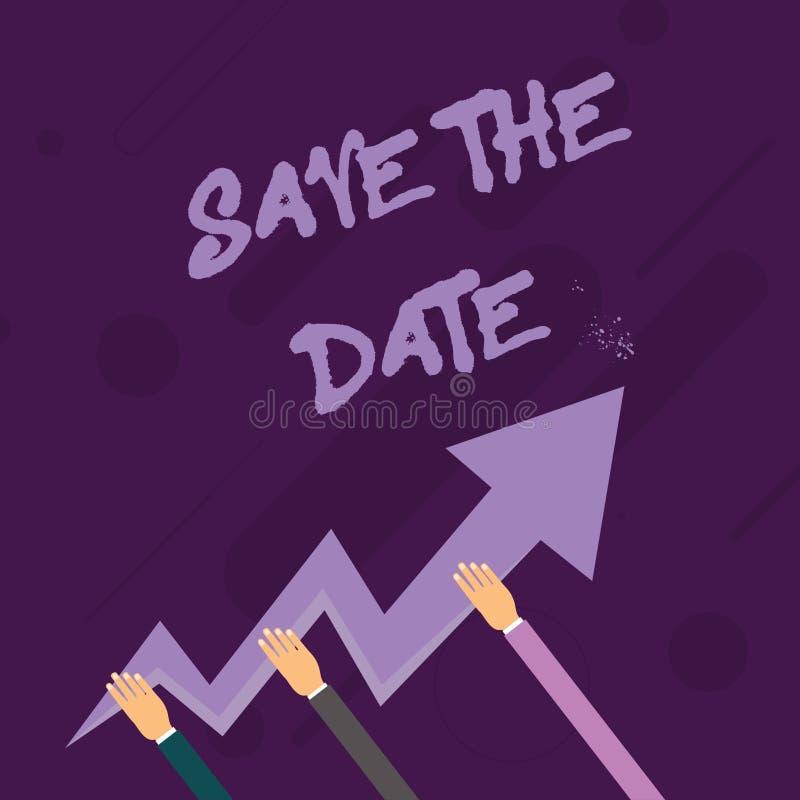Reserva del texto de la escritura de la palabra la fecha El concepto del negocio para los acontecimientos de organización hace bi stock de ilustración