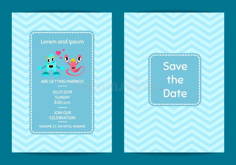 Reserva del vector la plantilla de la invitación de la boda de la fecha con los pares lindos del monstruo en fondo del zigzag stock de ilustración