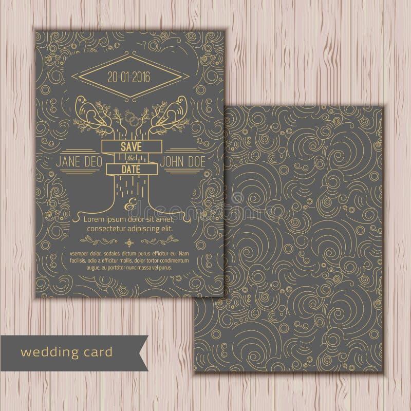 Reserva del vector la plantilla de la tarjeta de fecha - boda libre illustration