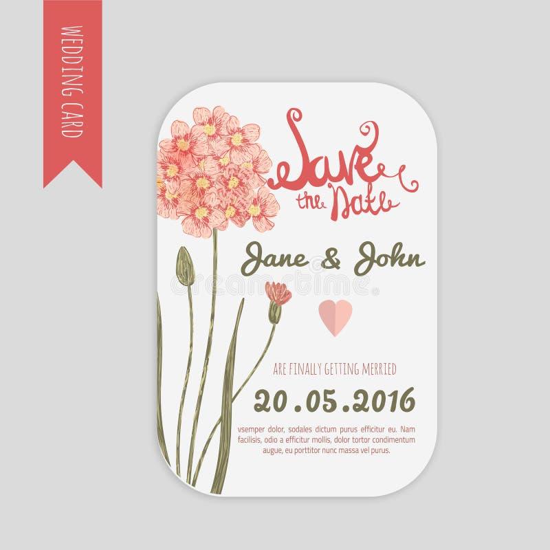 Reserva del vector la tarjeta de fecha con la flor dibujada mano de la margarita del vintage en estilo y letras rústicos ilustración del vector