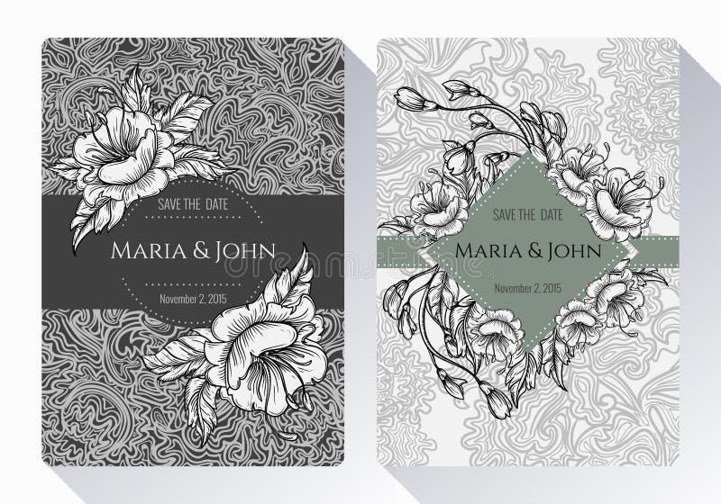Reserva del vintage la colección de la tarjeta de la invitación de la fecha o de la boda con las flores, las hojas y las ramas bl ilustración del vector