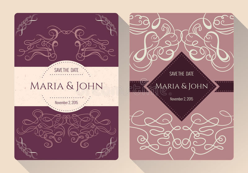 Reserva del vintage la colección de la tarjeta de la invitación de la fecha o de la boda con los elementos decorativos caligráfic libre illustration