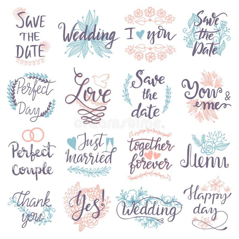 Reserva dibujada mano de la tipografía las tarjetas de felicitación de la boda del diseño de la insignia del logotipo del texto d ilustración del vector